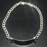 Pulseira Prata 925 Grumet 3,5 mm com Placa
