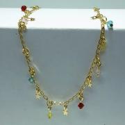 Tornozeleira Folheado Ouro 18k Pingente Cristal e Estrela