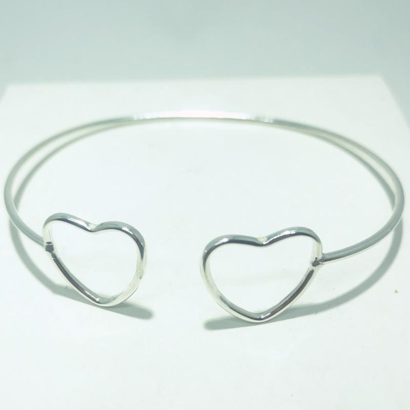 Bracelete Prata 925 Corações