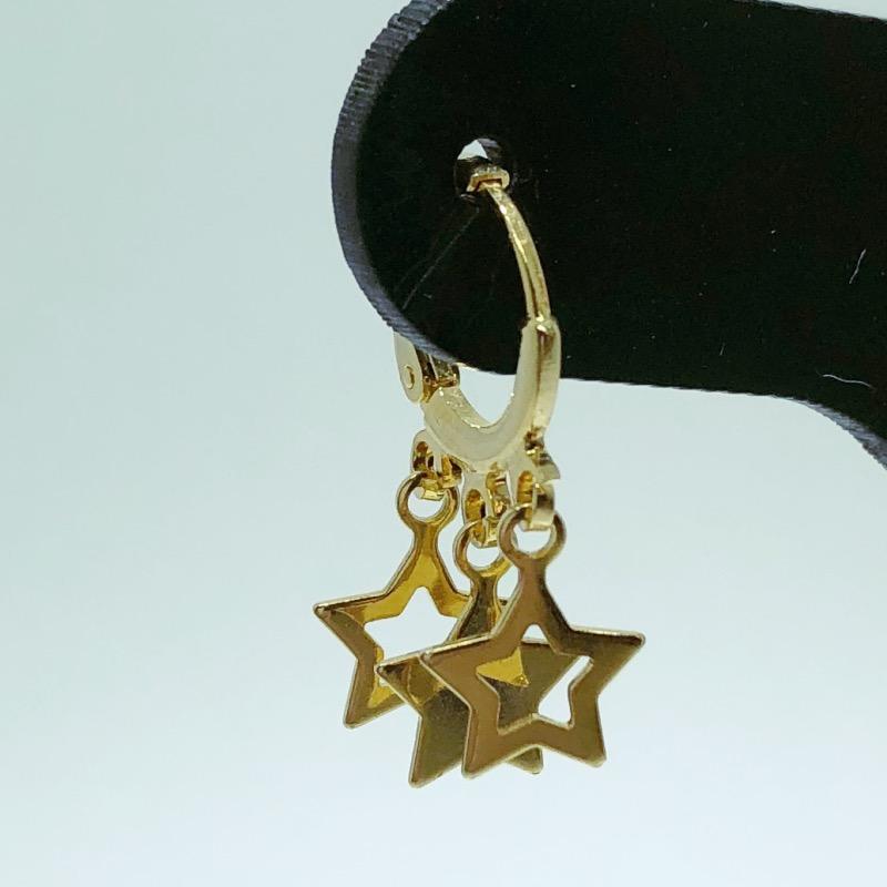 Brinco Folheado Ouro 18K Argola com 3 Estrelas