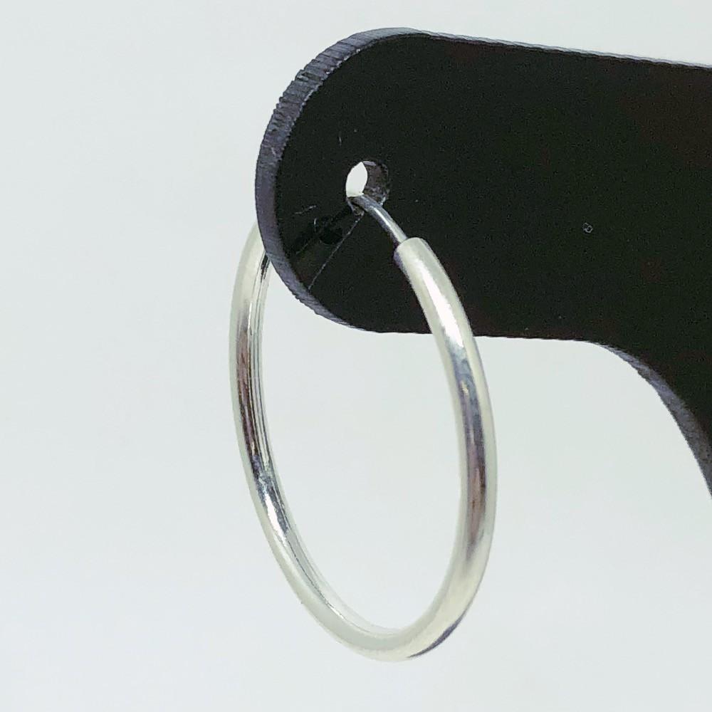 Brinco Prata 925 Argola Perfil Redondo - 25mm