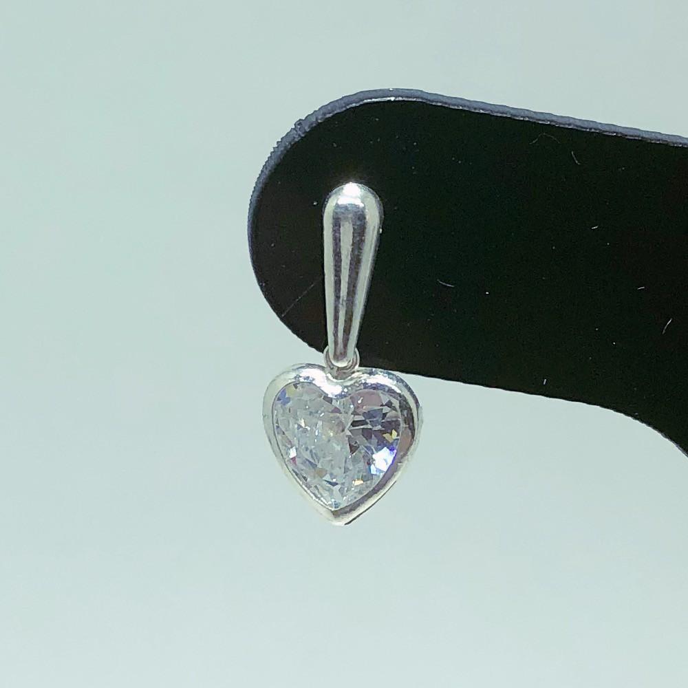 Brinco Prata 925 Base Gota Coração Zircônia