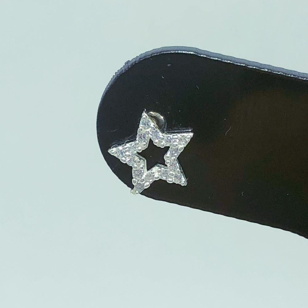 Brinco Prata 925 Estrela Cravejada Zircônia