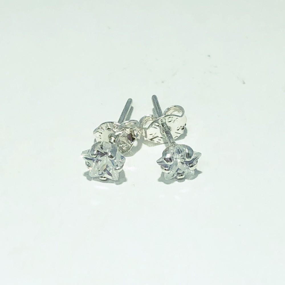 Brinco Prata 925 Zircônia Estrela 5mm
