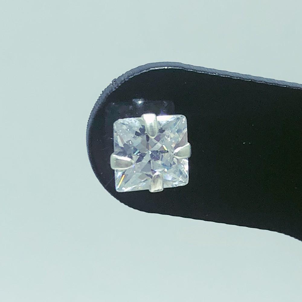 Brinco Prata 925 Zircônia Quadrado 8mm