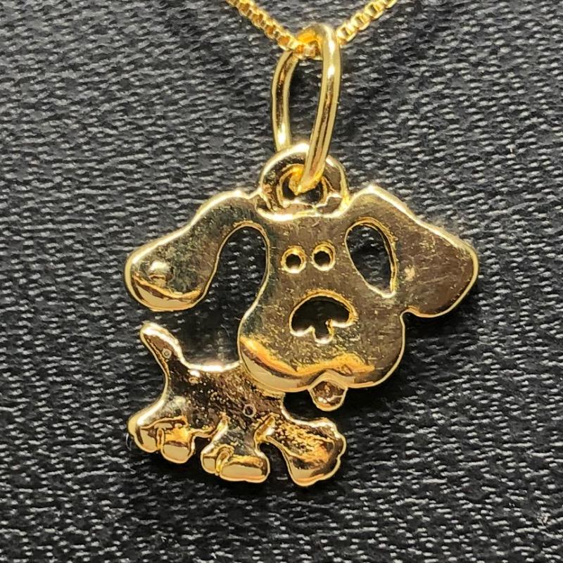 Corrente com Pingente Folheado Ouro 18k Cachorro Vazado