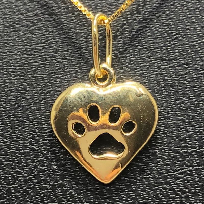 Corrente com Pingente Folheado Ouro 18k Coração Patinha Vazada
