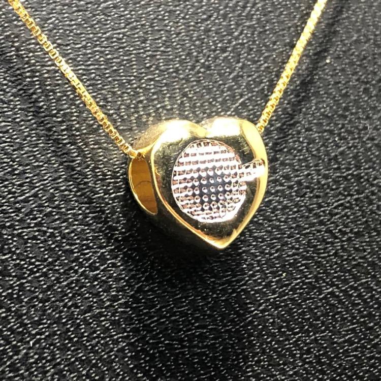 Corrente com Pingente Folheado Ouro 18k Coração Ródio