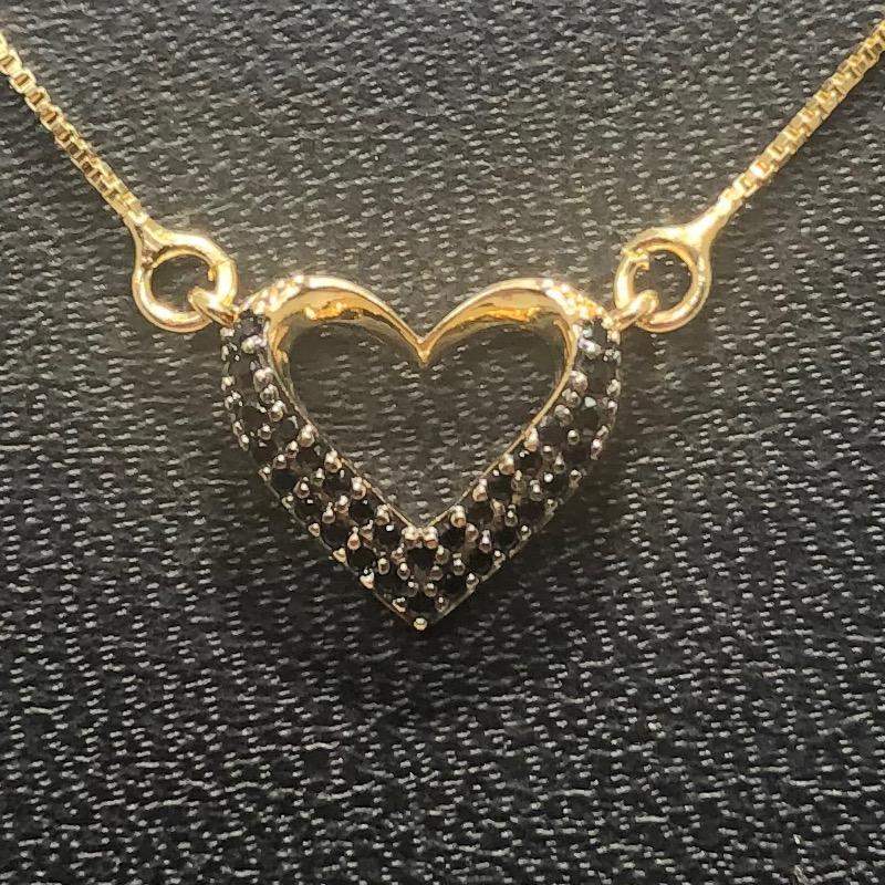 Corrente com Pingente Folheado Ouro 18k Coração Zircônia Colorida