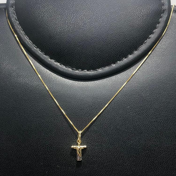 Corrente com Pingente Folheado Ouro 18k Cristo Redentor Ródio