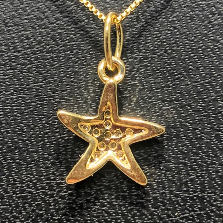Corrente com Pingente Folheado Ouro 18k Estrela com Strass