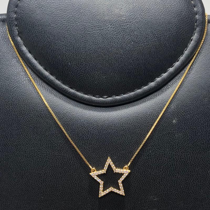 Corrente com Pingente Folheado Ouro 18k Estrela Cravejada Zircônia