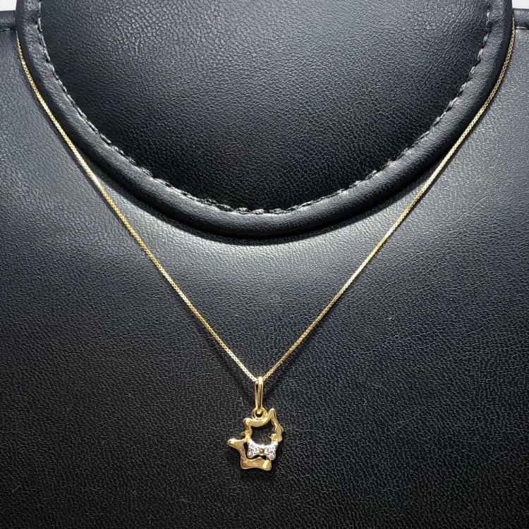 Corrente com Pingente Folheado Ouro 18k Gato Vazado Gravata Zircônia