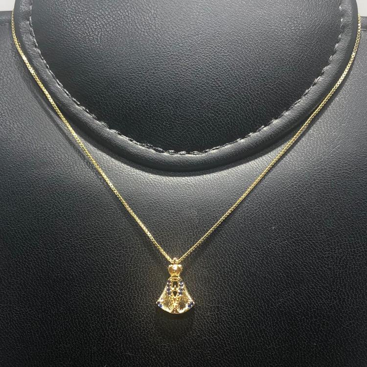 Corrente com Pingente Folheado Ouro 18k N.S.A Zircônia Azul