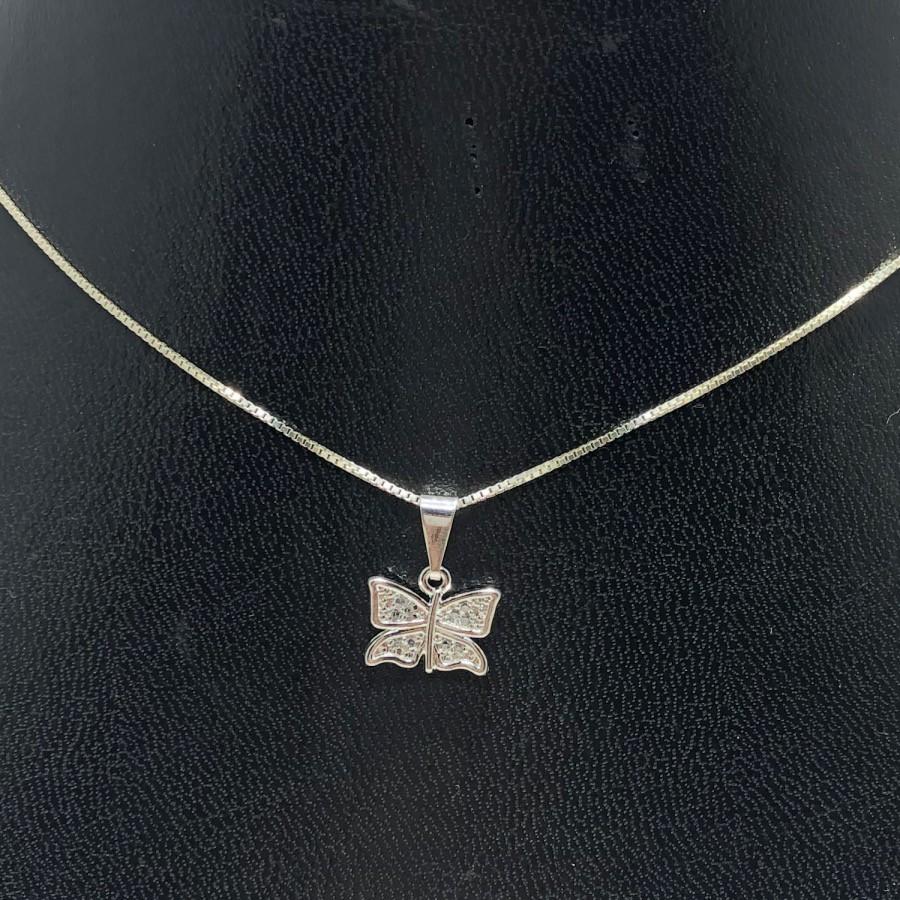 Corrente e Pingente em Prata 925 Borboleta Cravejado Zircônia