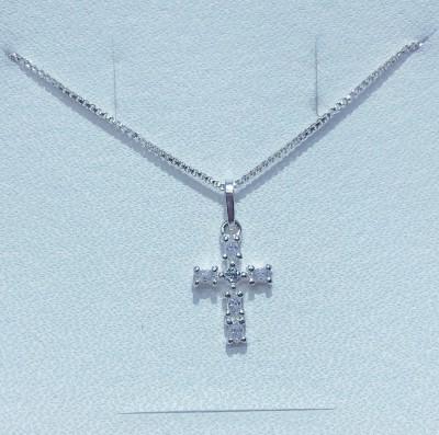 Corrente E Pingente Em Prata 925 E Zircônia Cruz Pq