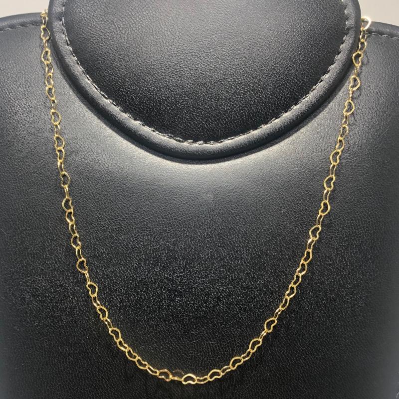 Corrente Folheado Ouro 18k Coração 45cm