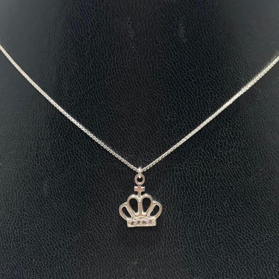 Corrente Prata 925 Com Pingente Coroa Cruz Zircônia