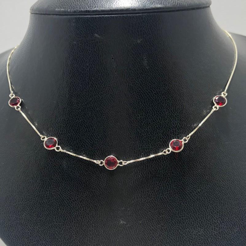 Corrente Prata 925 Estilo Chocker Zircônia Redonda Vermelha