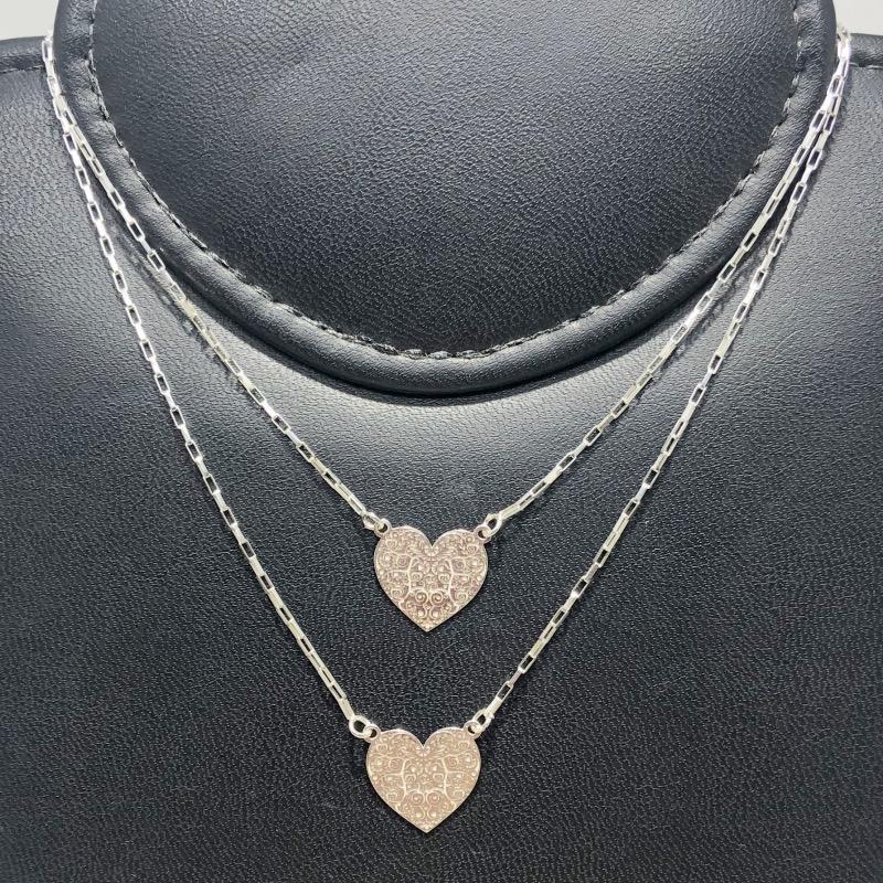 Escapulário Prata 925 Coração Arabescos