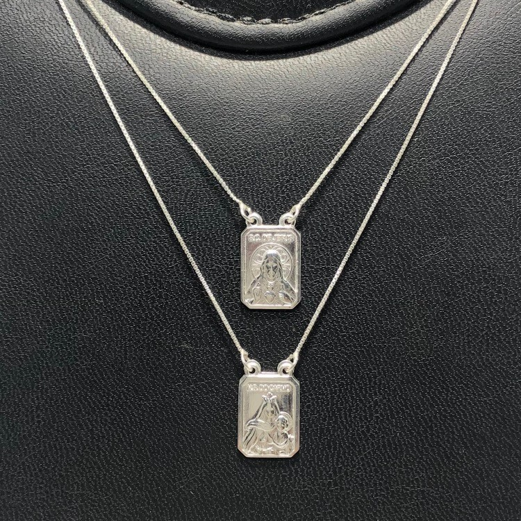 Escapulário Prata 925 Sagrado Coração e Nossa senhora gr