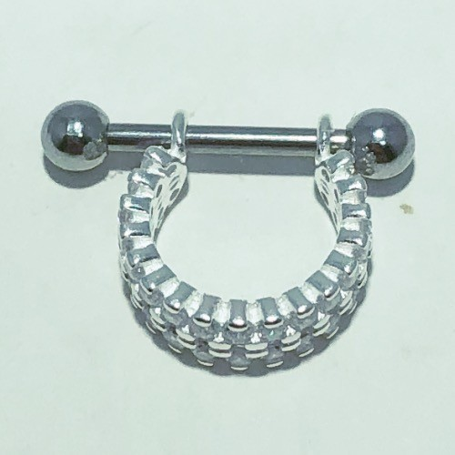 Piercing Prata 925 Conch 2 Fileiras Zircônia