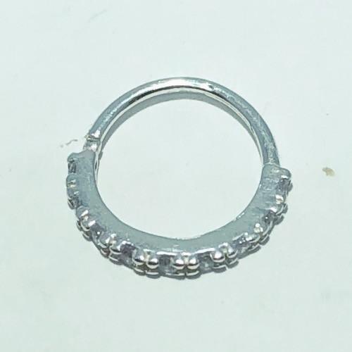 Piercing Prata 925 Helix Fino 9 Zircônias
