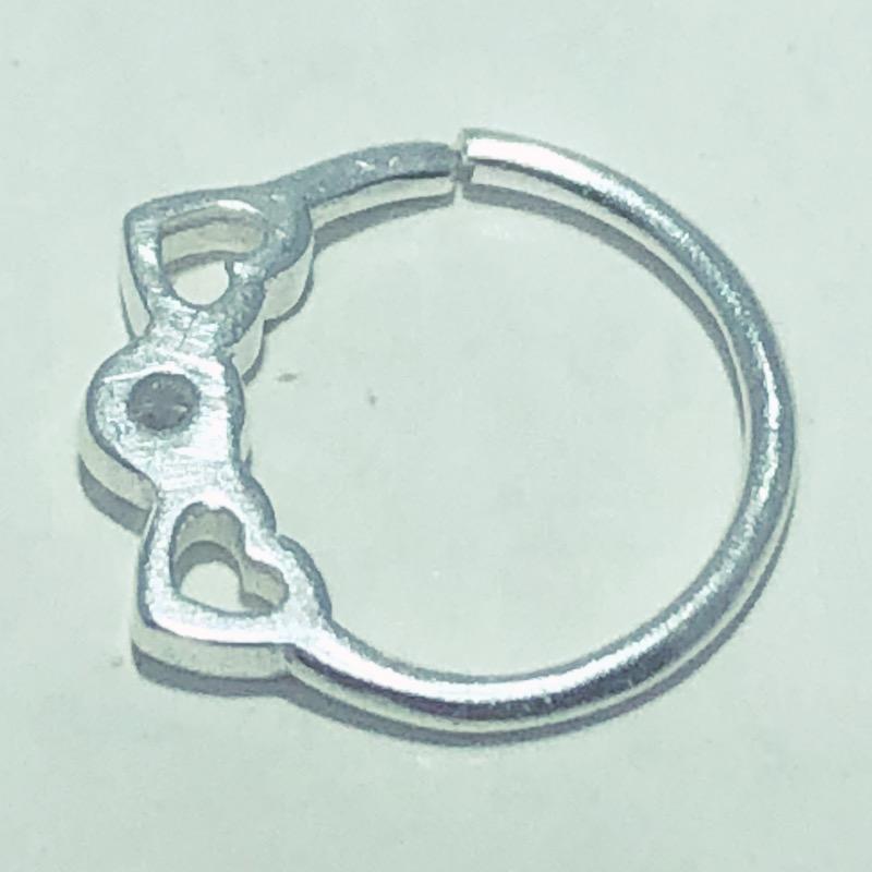 Piercing Prata 925 Septo Corações  Zircônia