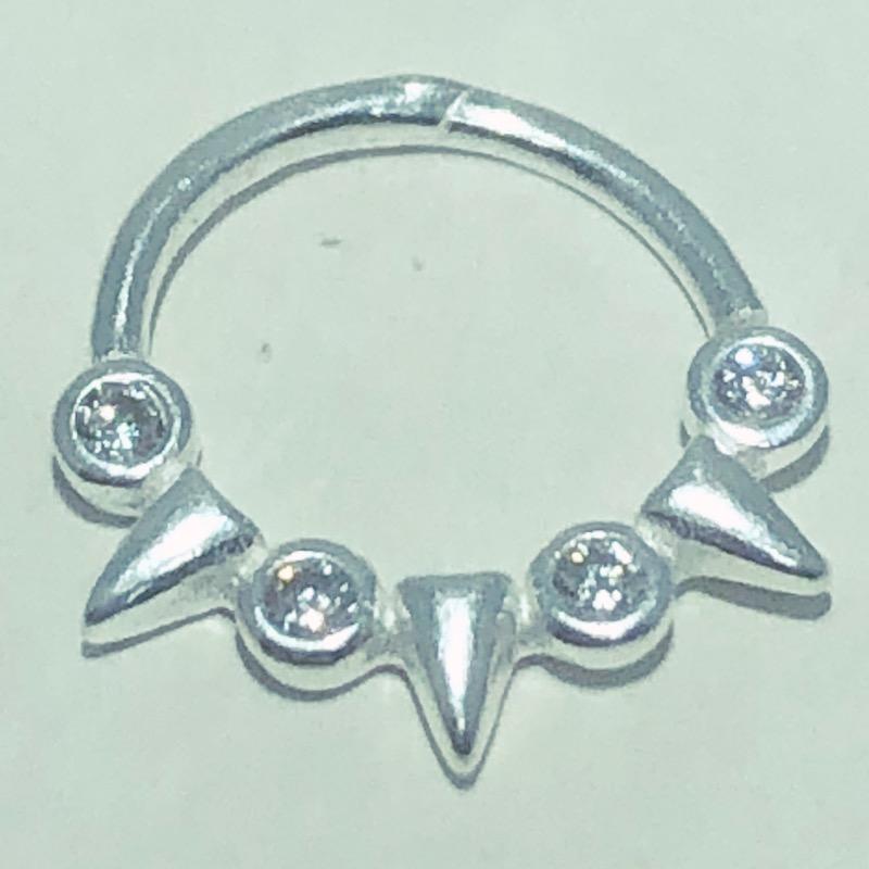Piercing Prata 925 Septo Coroa 4 Zircônias