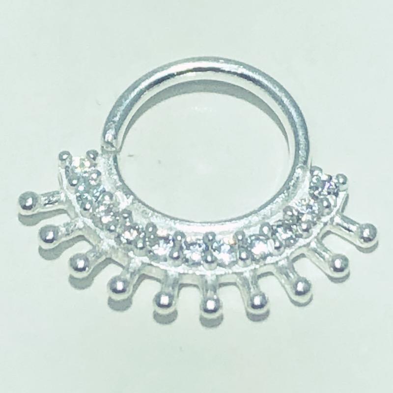 Piercing Prata 925 Septo Coroa 9 Zircônias
