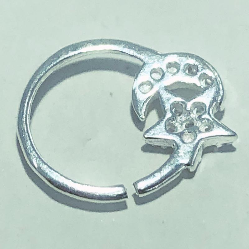 Piercing Prata 925 Septo Lua Estrela Zircônias