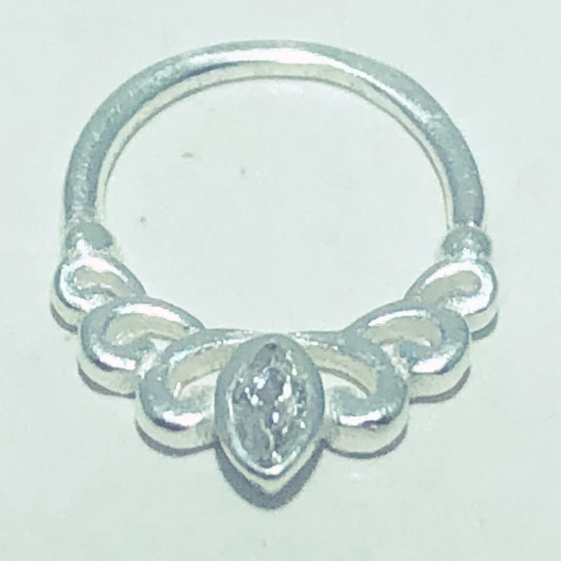 Piercing Prata 925 Septo Indiando Zircônia Navete