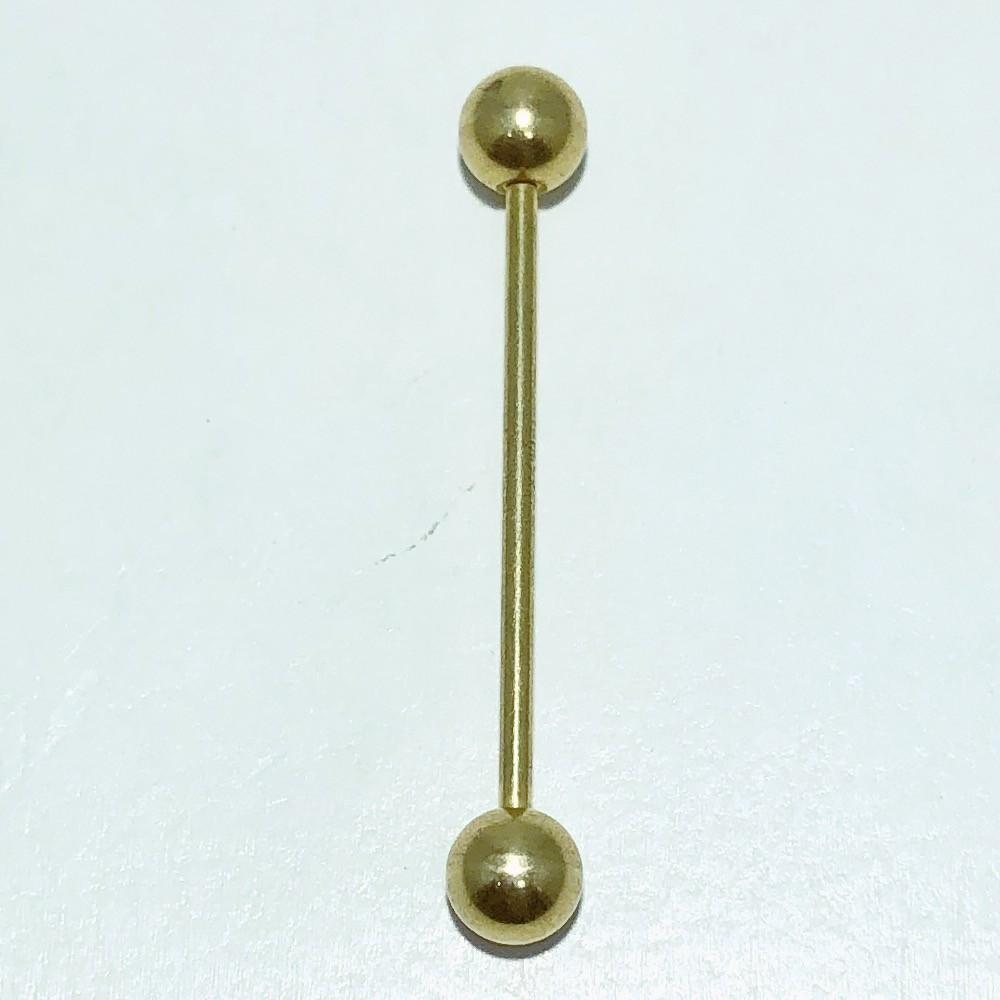 Piercing Reto Aço Dourado Bolinha nas pontas 31 mm