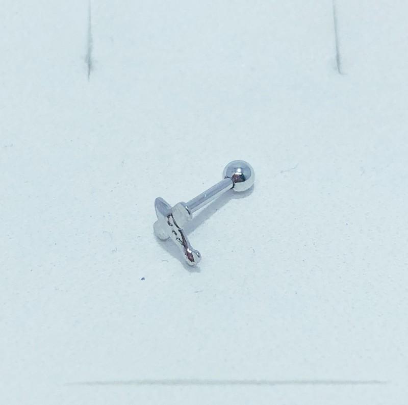 Piercing Tragus Banho de Ródio Avião