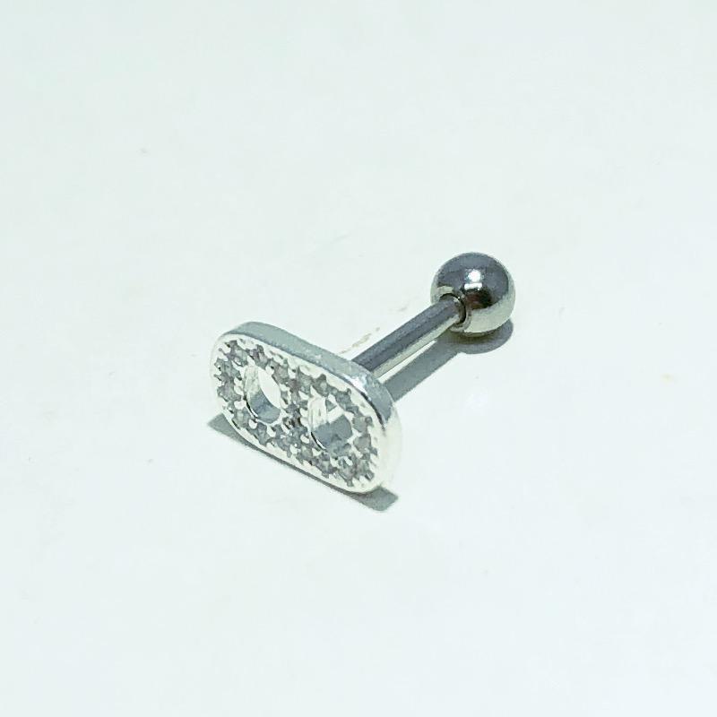 Piercing Tragus Prata 925 Latinha Zircônia