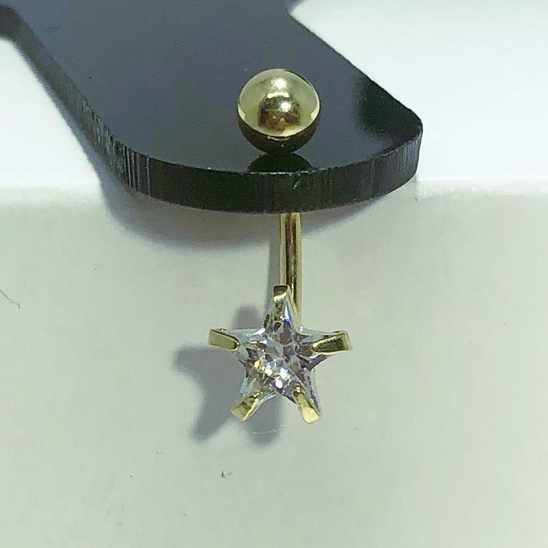 Piercing Umbigo Aço Dourado Estrela Zircônia