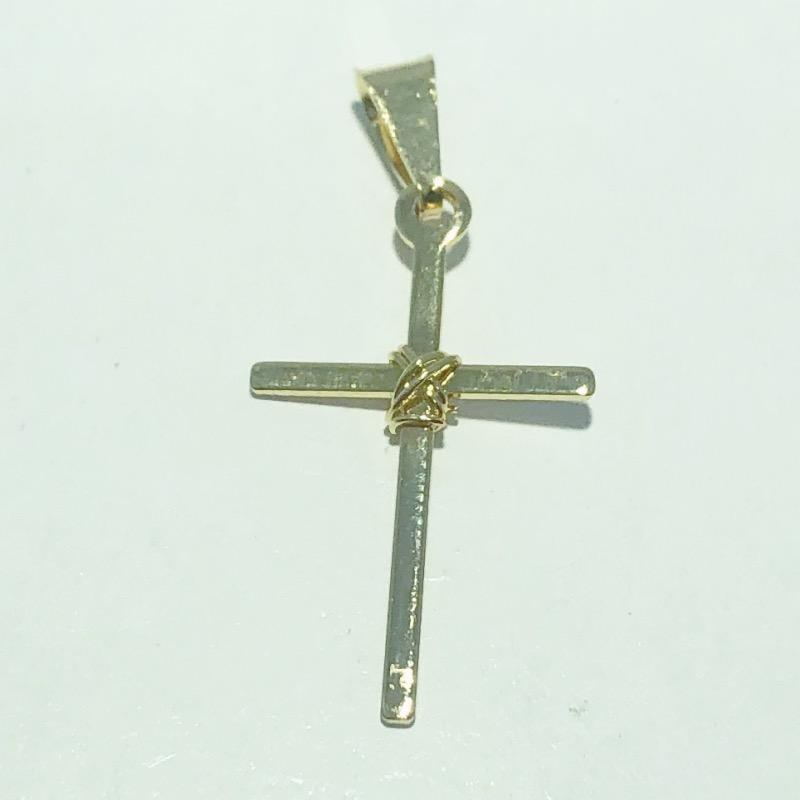 Pingente Folheado Ouro 18k Cruz Palito Amarrada