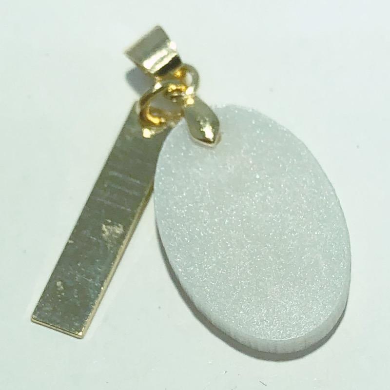 Pingente Folheado Ouro 18K Madrepérola Oval Medicina 18mm