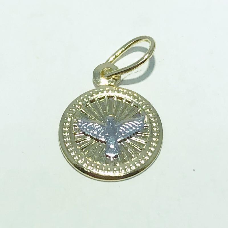 Pingente Folheado Ouro 18K Medalha Espirito Santo Ródio
