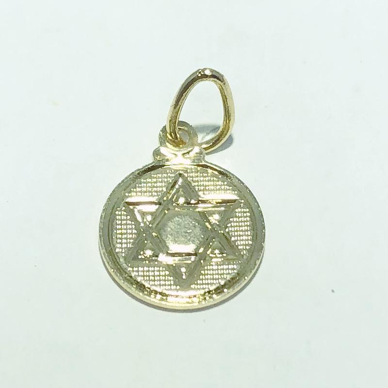 Pingente Folheado Ouro 18K Medalha Estrela de Davi Ródio