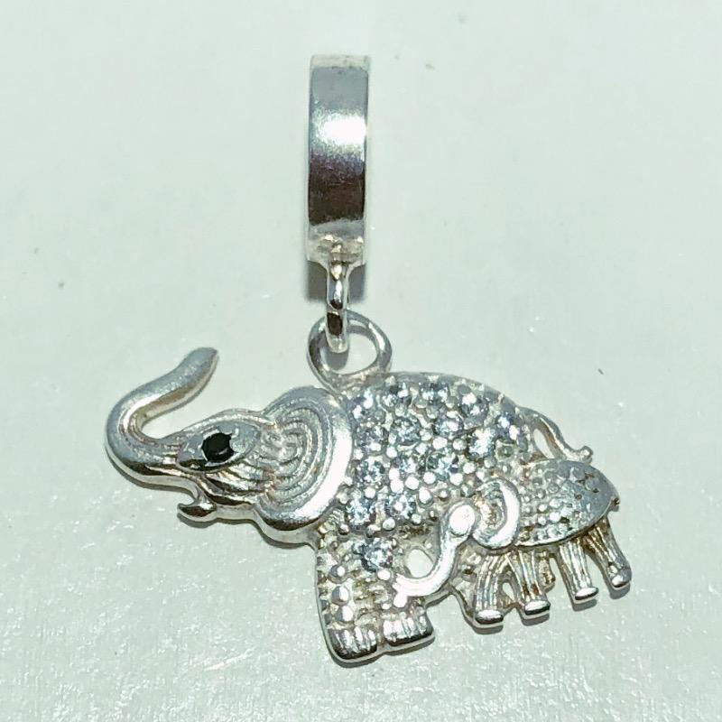 Pingente Prata 925 Elefante Zircônia