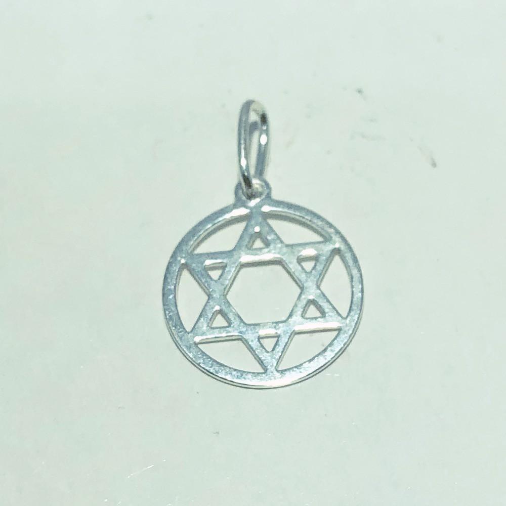 Pingente Prata 925 Medalha Estrela de Davi com Aro 12 mm