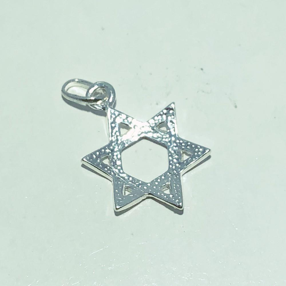 Pingente Prata 925 Medalha Estrela de Davi Ovalado