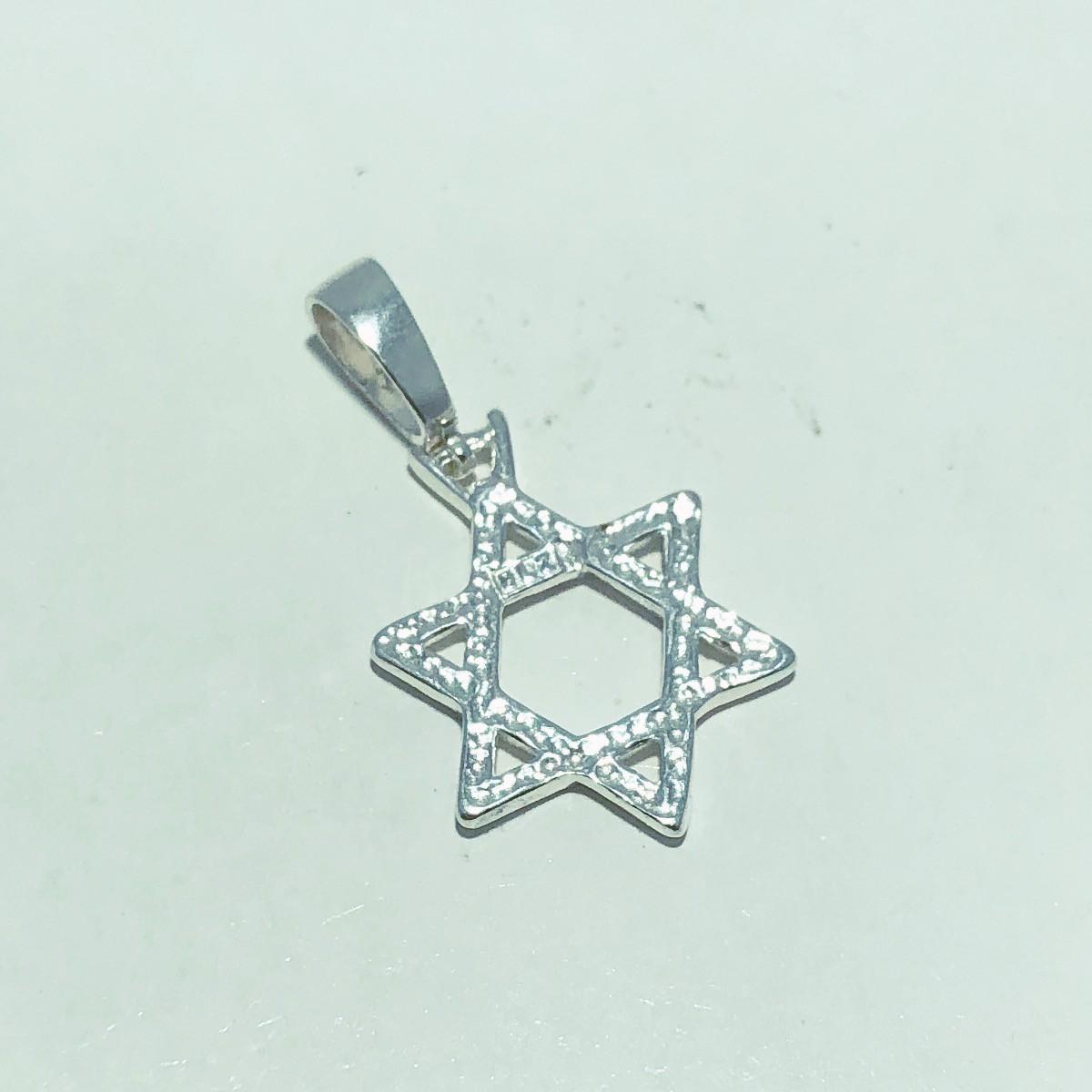 Pingente Prata 925 Medalha Estrela de Davi Trançado