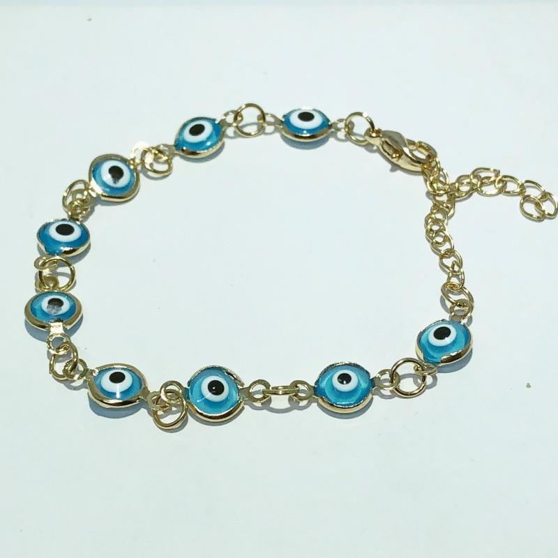 Pulseira Folheado Ouro 18k Olho Grego Azul Claro