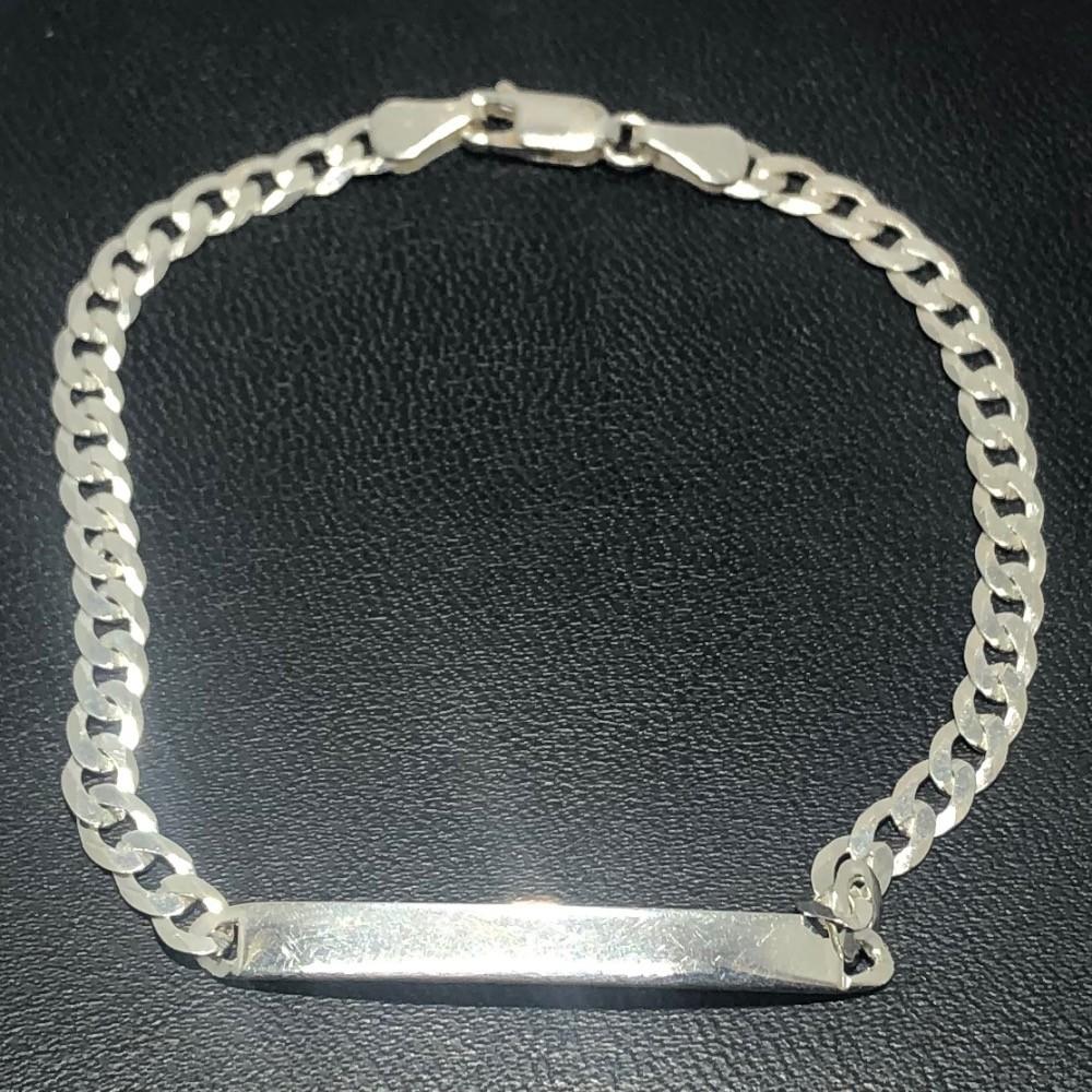Pulseira Prata 925 Grumet 4,5 mm com Placa