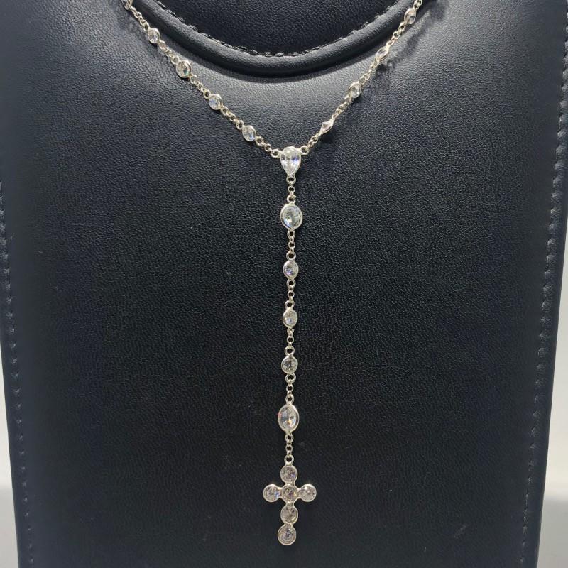 Terço Prata 925 Tradicional Contas em Zircônia