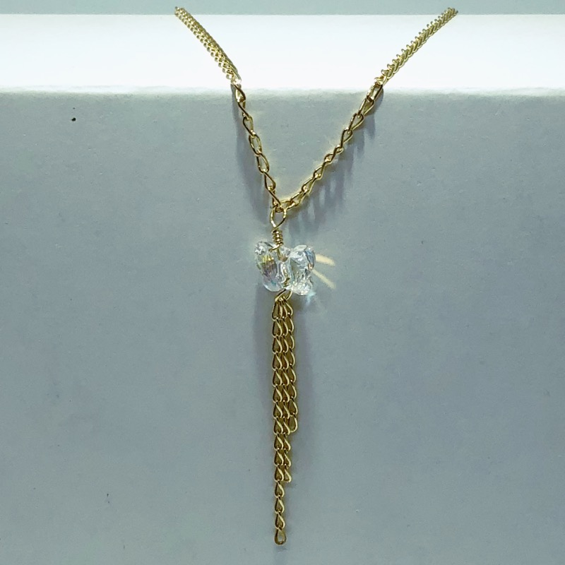 Tornozeleira Folheado Ouro 18k Pingente de Borboleta Cristal