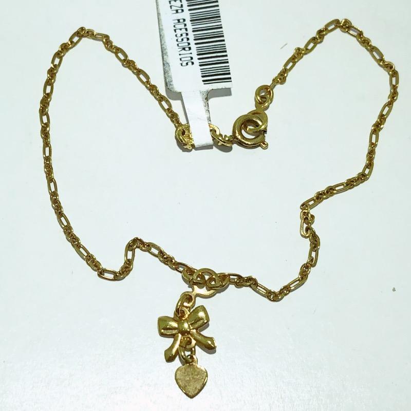 Tornozeleira Folheado Ouro 18k Pingente de Laço e Coração