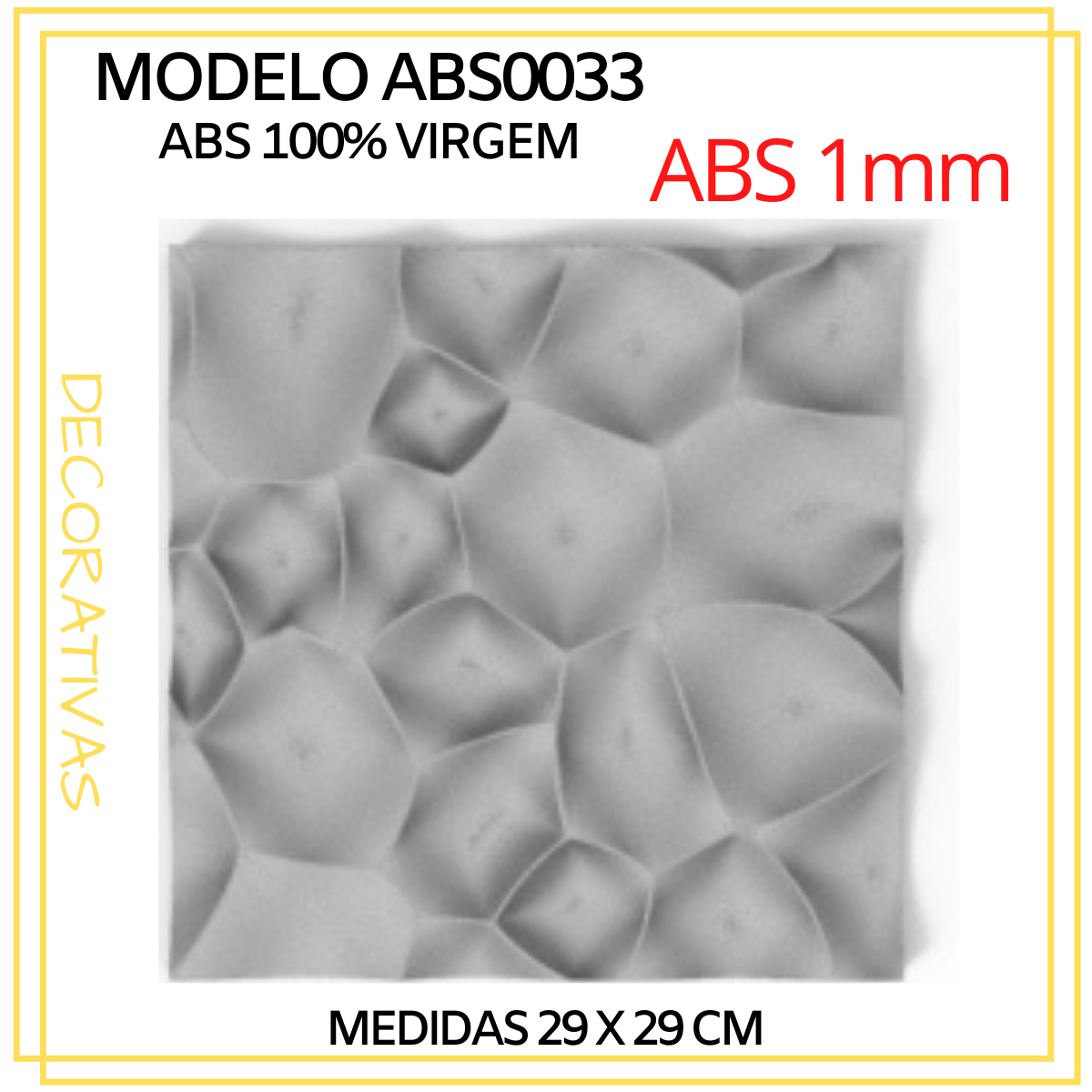 Forma De Gesso 3D em ABS - ABS0033-1MM 29x29cm